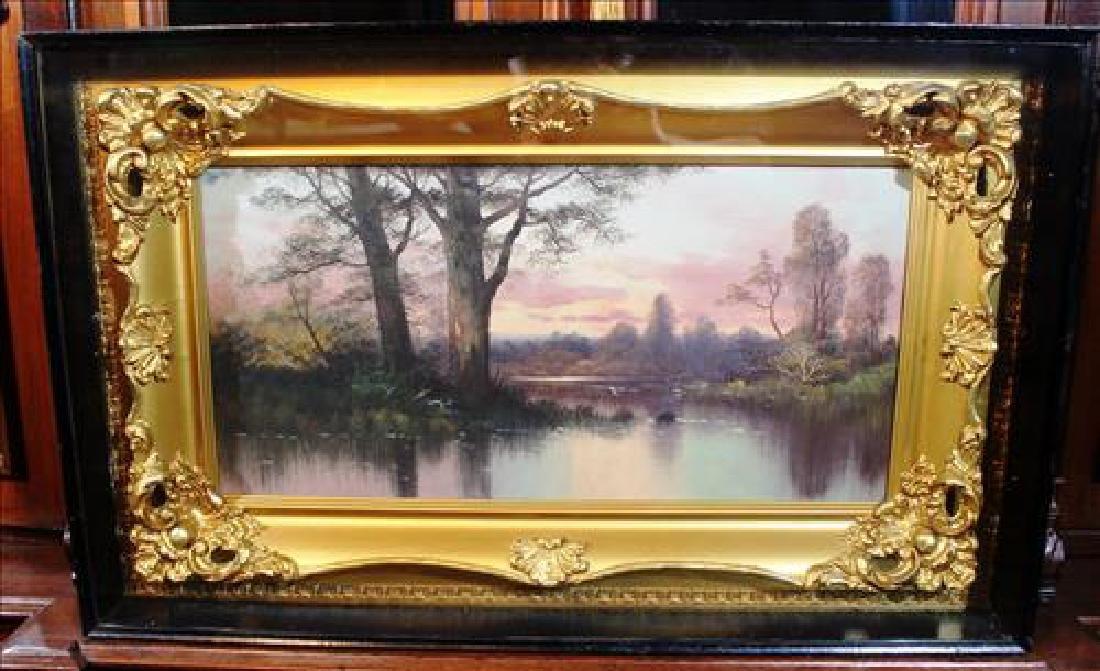 Chalk on board of lake scene in shadowbox frame 20x32