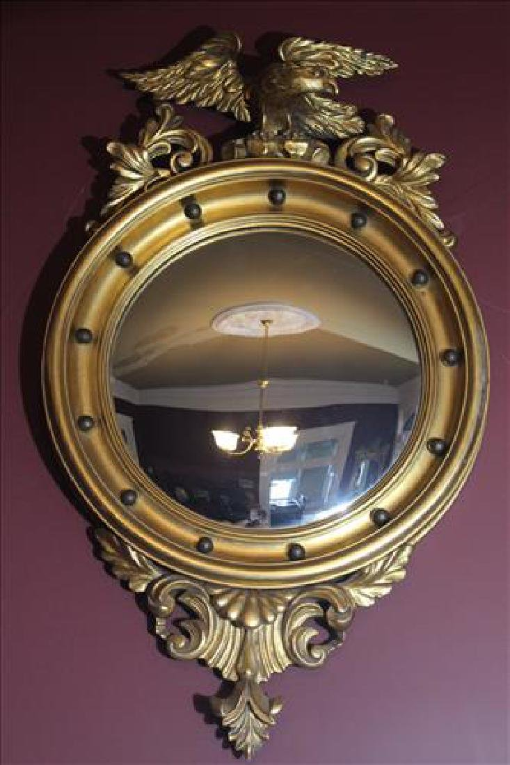 Federal gold gilt convex mirror with eagle, 35 x 21