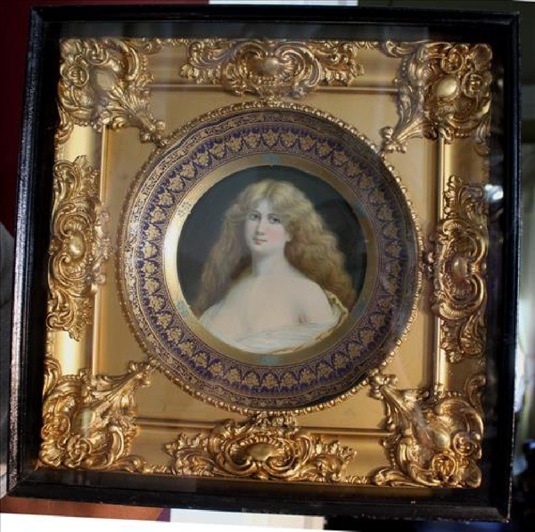 Royal Vienna hand painted plate in shadowbox