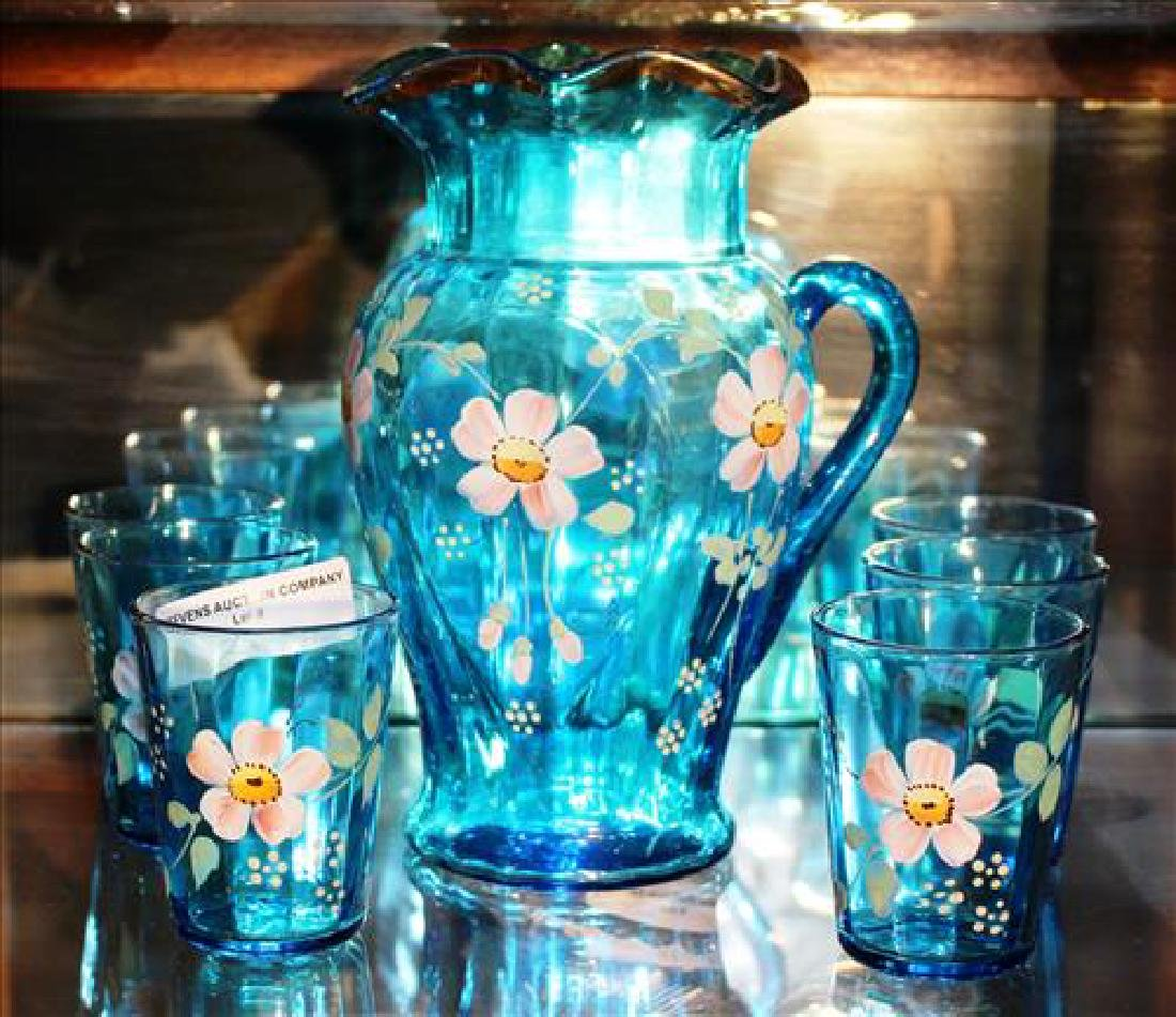 7 piece hand painted beverage set with gold enamel