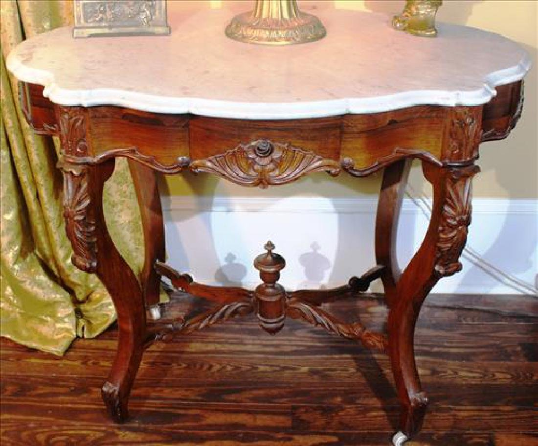 Rosewood Victorian white marble turtle top center table