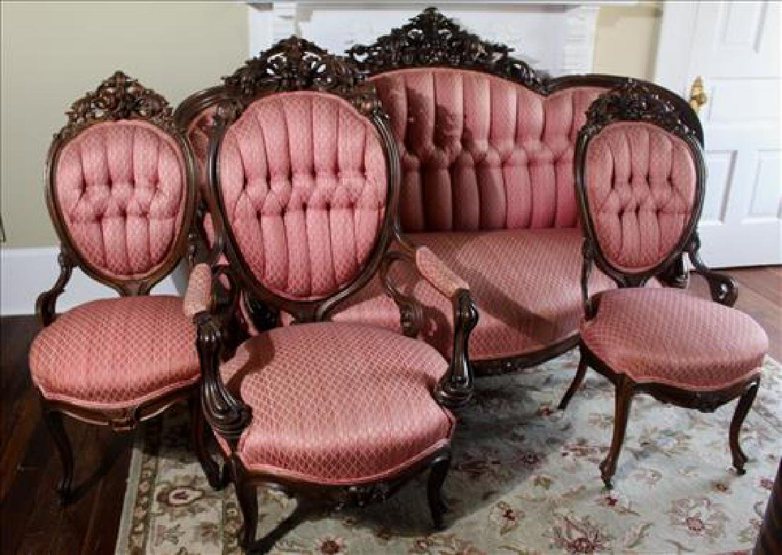 Rosewood rococo 4 piece parlor suit by Meeks