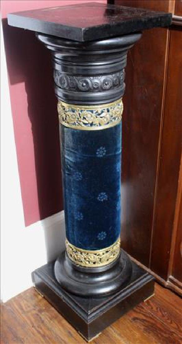 Ebonized mahogany pedestal, 42 in. T. with blue accents