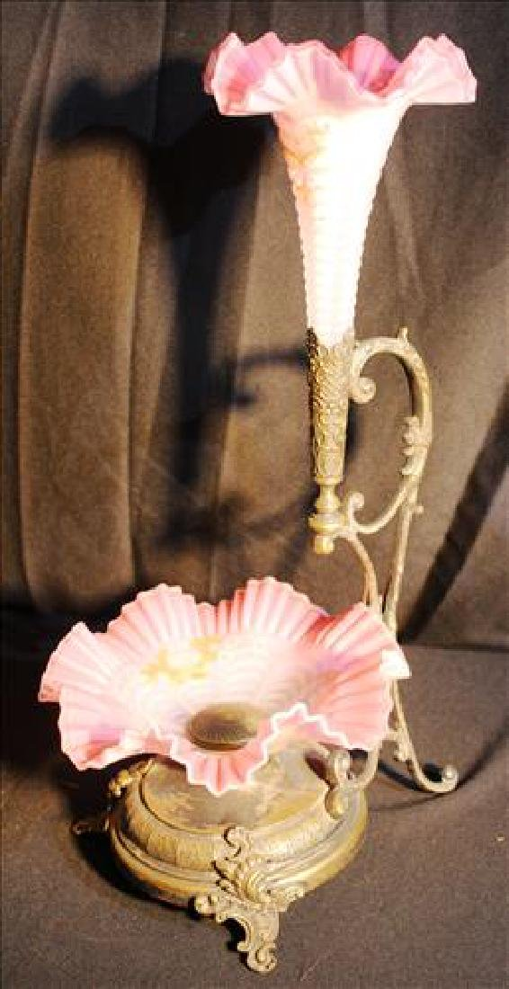 Victorian silver-plate epergne with pink bowl