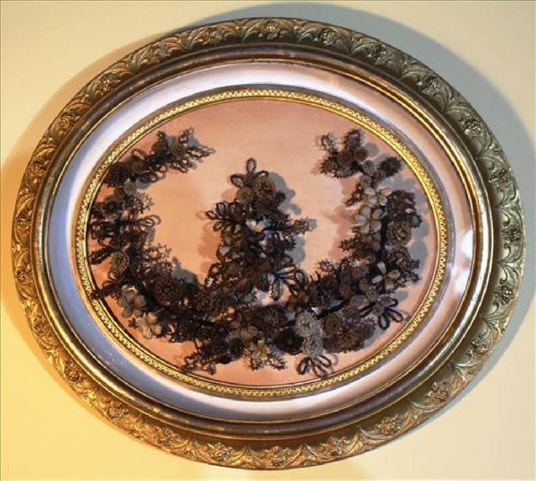 Victorian hair wreath in beautiful ornate gold frame