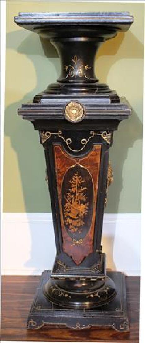 Walnut Victorian black lacquer pedestal