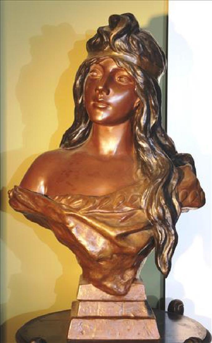 Art Nouveau bronze bust of woman