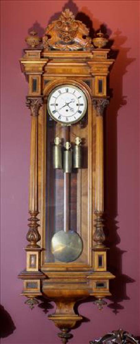 Vienna regulator 3 weight wall clock in walnut case