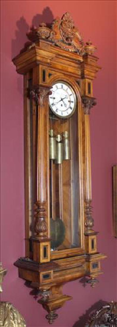 Vienna regulator 3 weight wall clock in walnut case - 2
