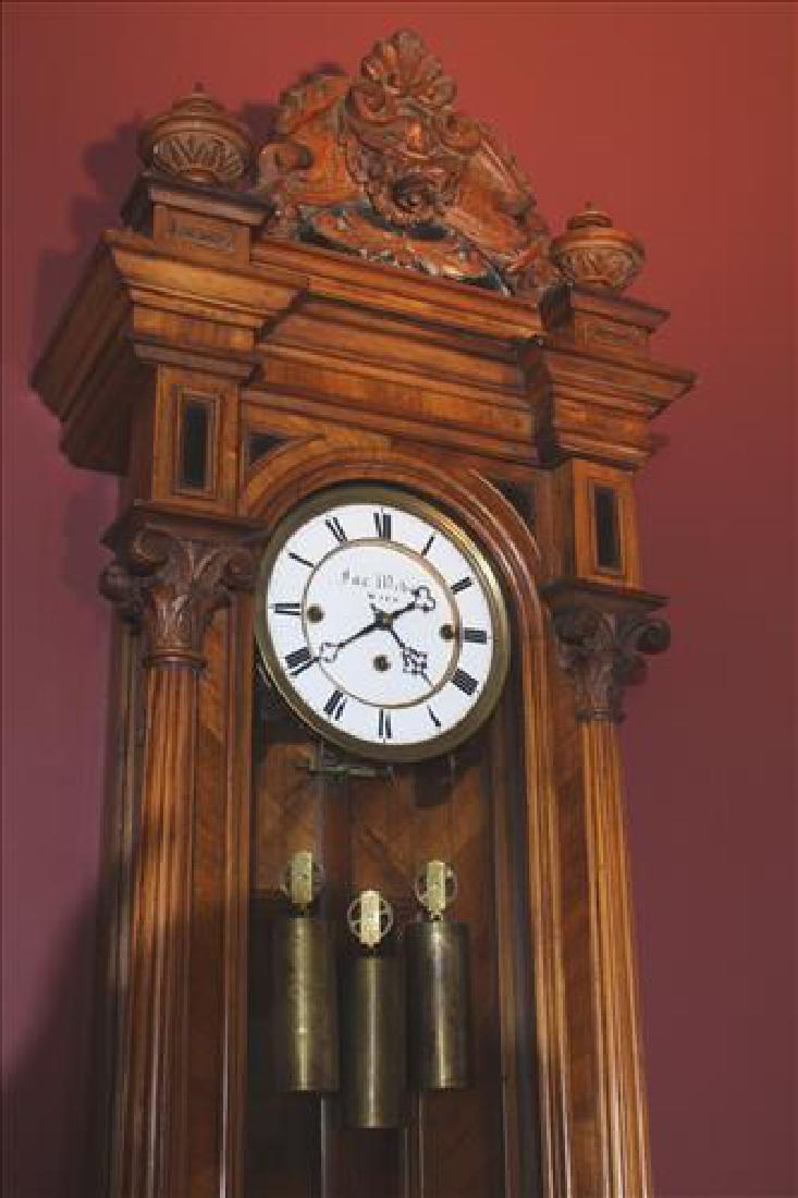 Vienna regulator 3 weight wall clock in walnut case - 3