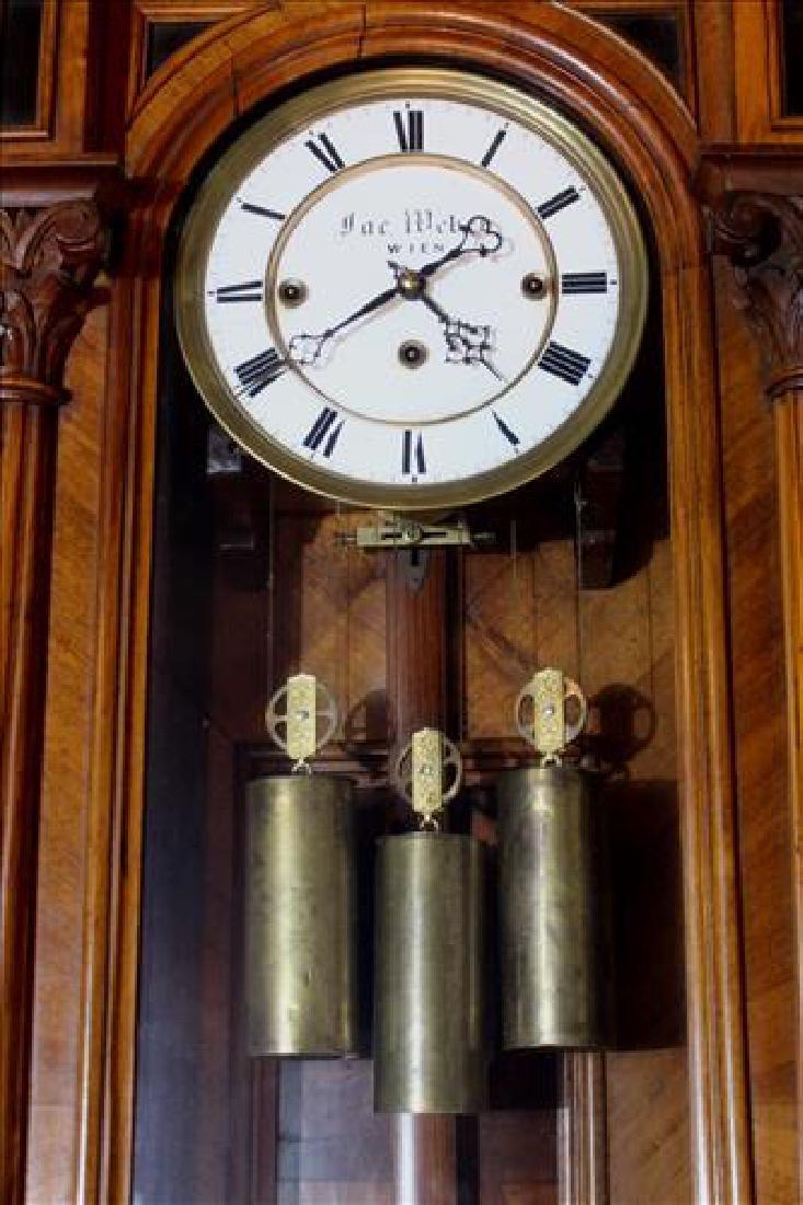 Vienna regulator 3 weight wall clock in walnut case - 4
