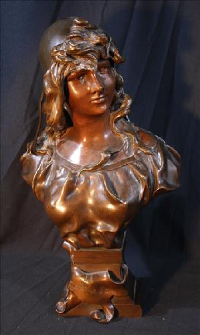 Signed bronze bust of Victorian girl, 19 in. T.