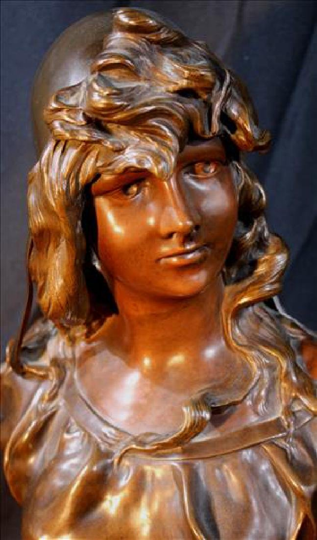 Signed bronze bust of Victorian girl, 19 in. T. - 2
