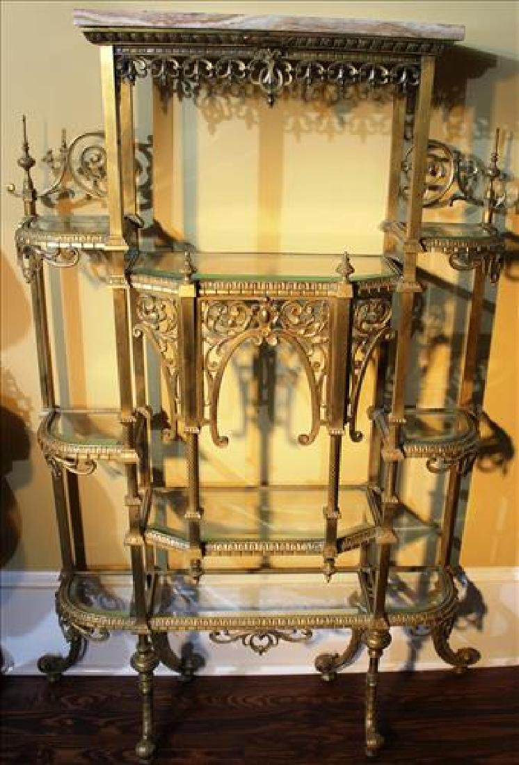 Brass Victorian etergere w bev glass shelves & marble