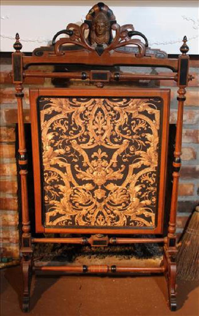 Walnut Renaissance fire screen with fabric insert