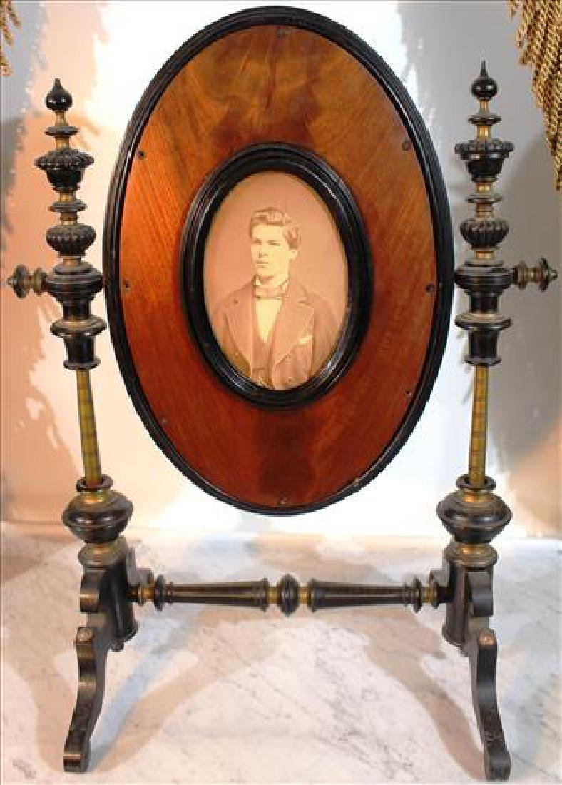 Victorian shaving mirror on stand