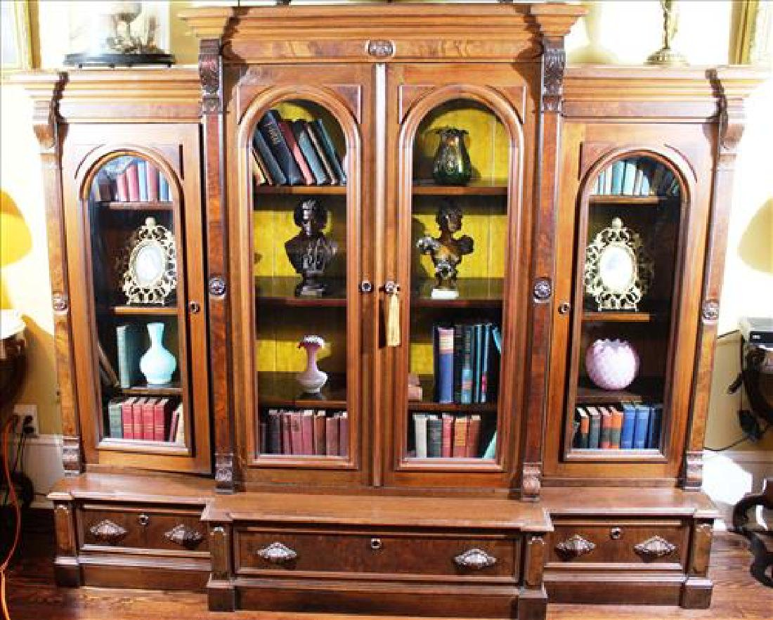 Walnut Victorian 4 door, 3 drawer bookcase