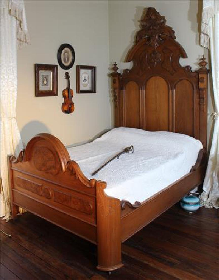 3 piece walnut Victorian high back bedroom suite