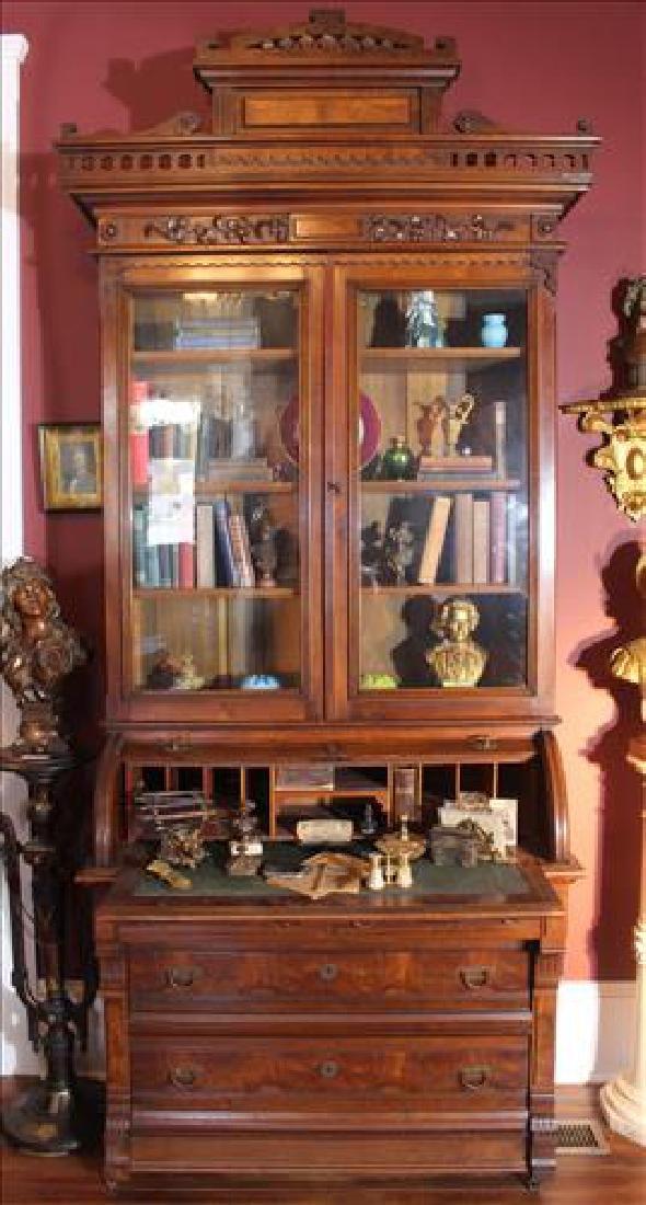 Oversized late walnut Victorian secretary