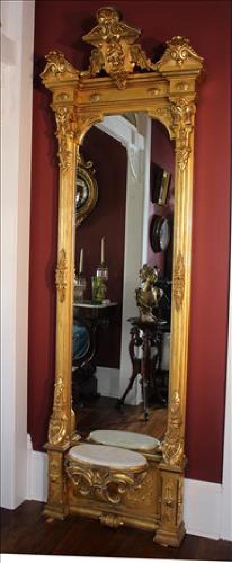 Unusual Victorian gold gilt pier mirror w insert