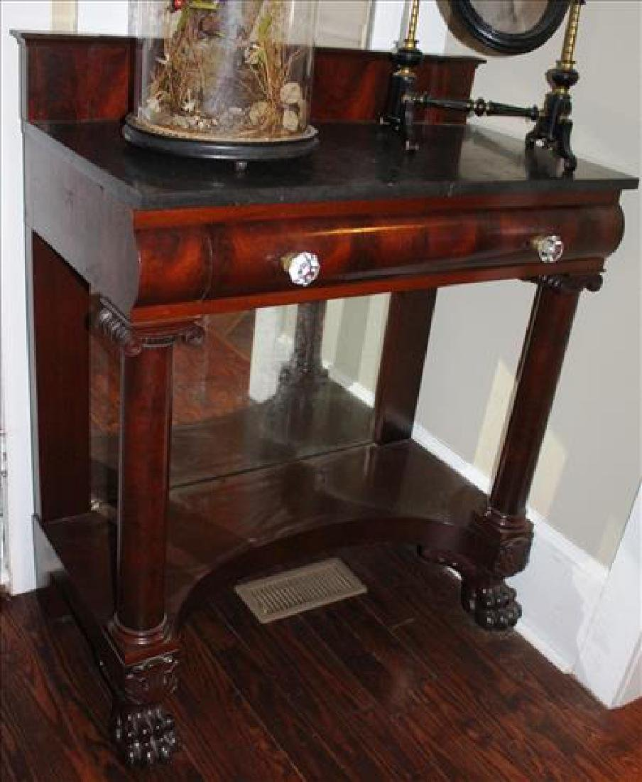 Mahogany Empire pier table with black marble top