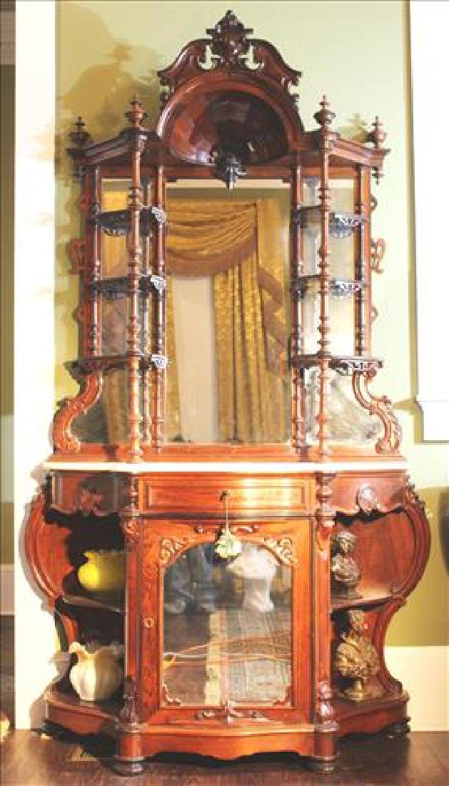 Rosewood rococo etagere with white marble