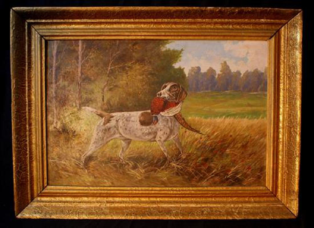 Oil on board of dog with pheasant, 17 x 23