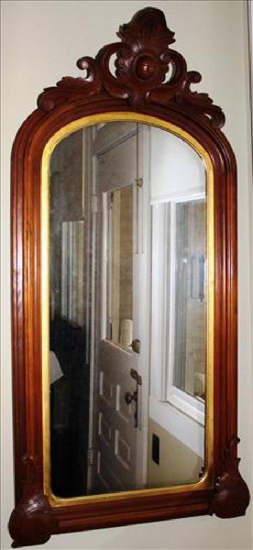Walnut Victorian hanging wall mirror. 54X26