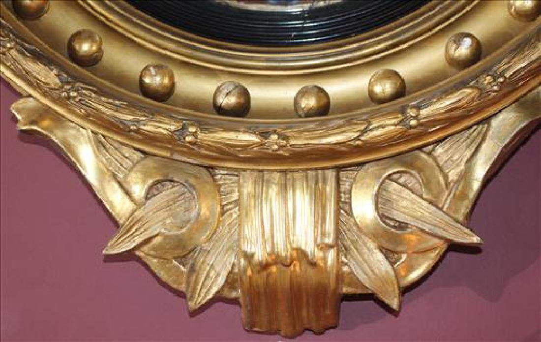 Gold gilt convex mirror with dolphins, 33 x 23 - 3