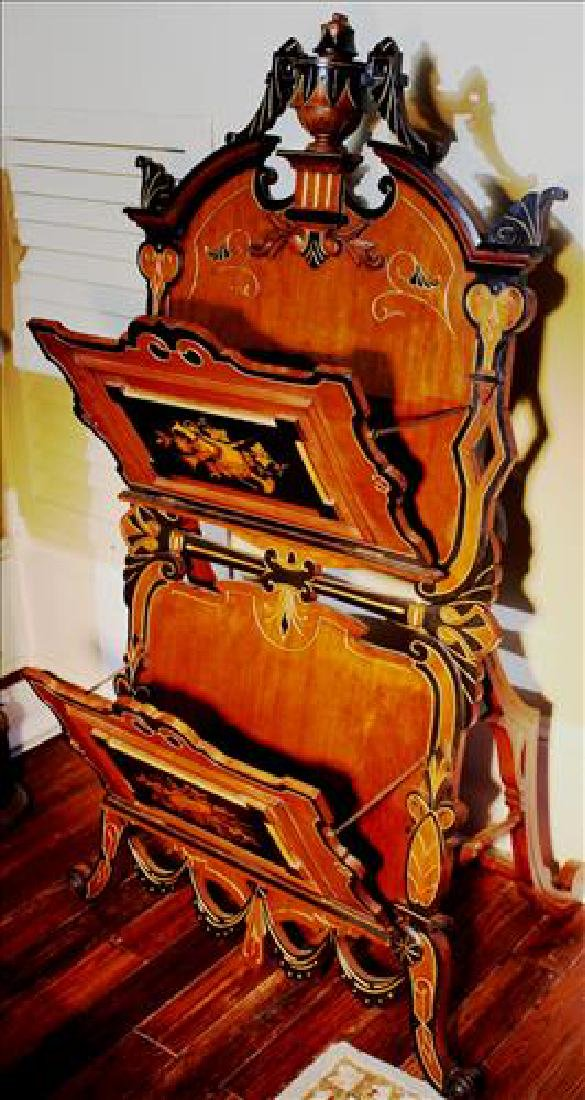 Walnut Victorian Renaissance magazine rack - 2