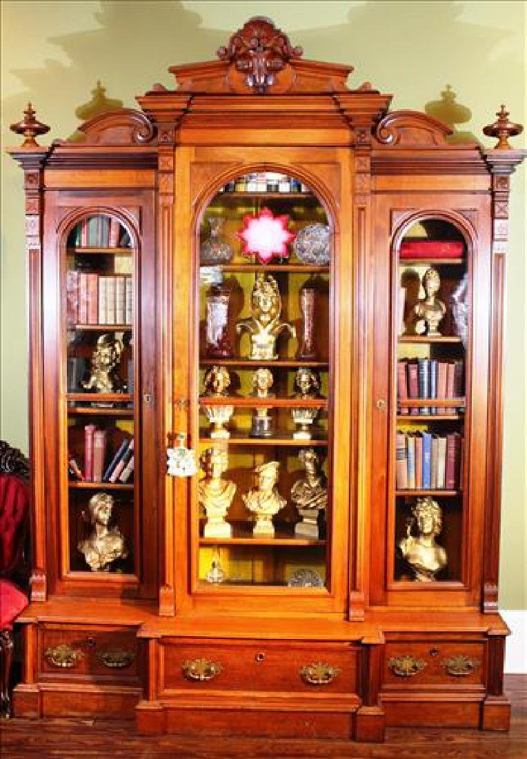 Walnut Victorian 3 door bookcase