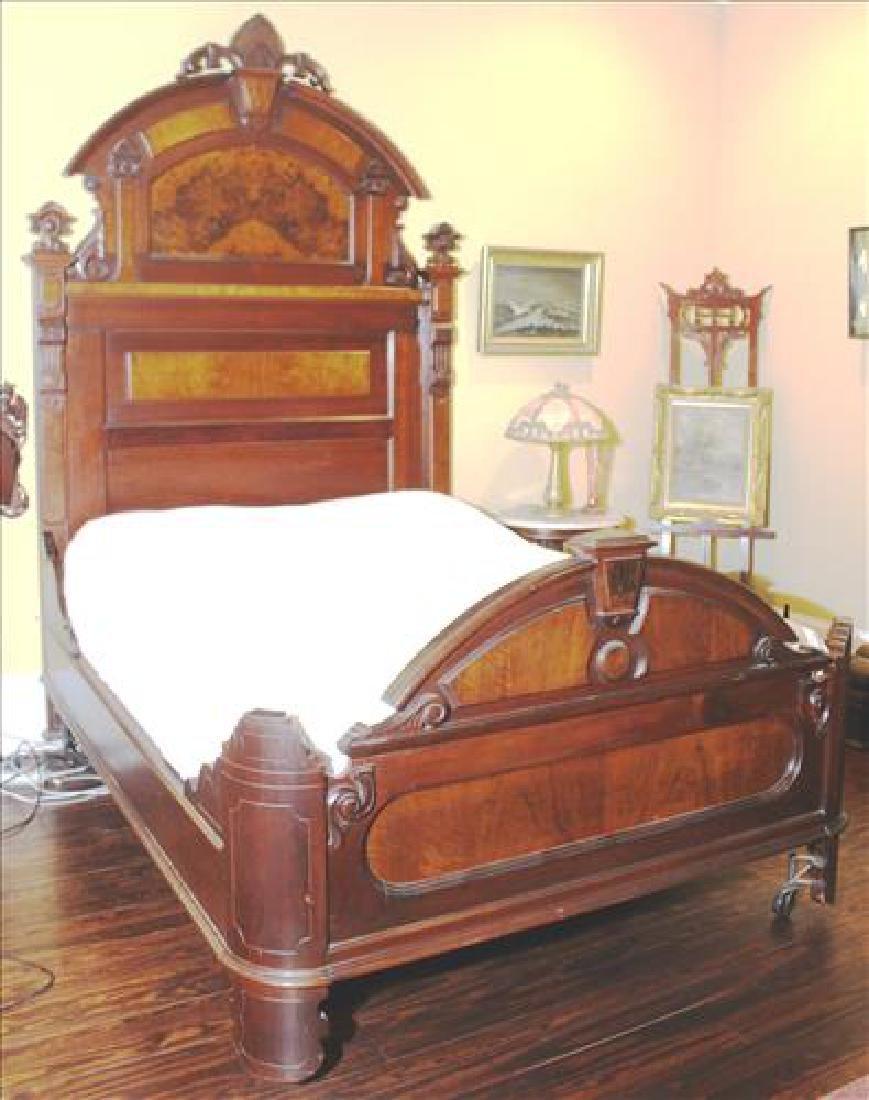 3 pc walnut Victorian high back bedroom suite