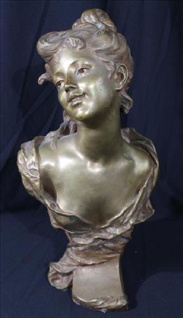 Excellent bronze bust of woman signed Luigi Baliani