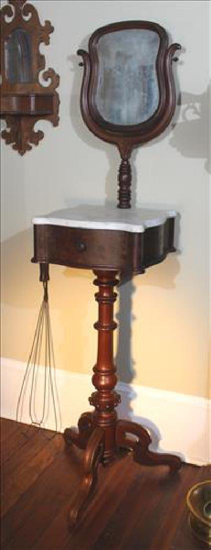 Walnut Victorian shaving stand with marble top