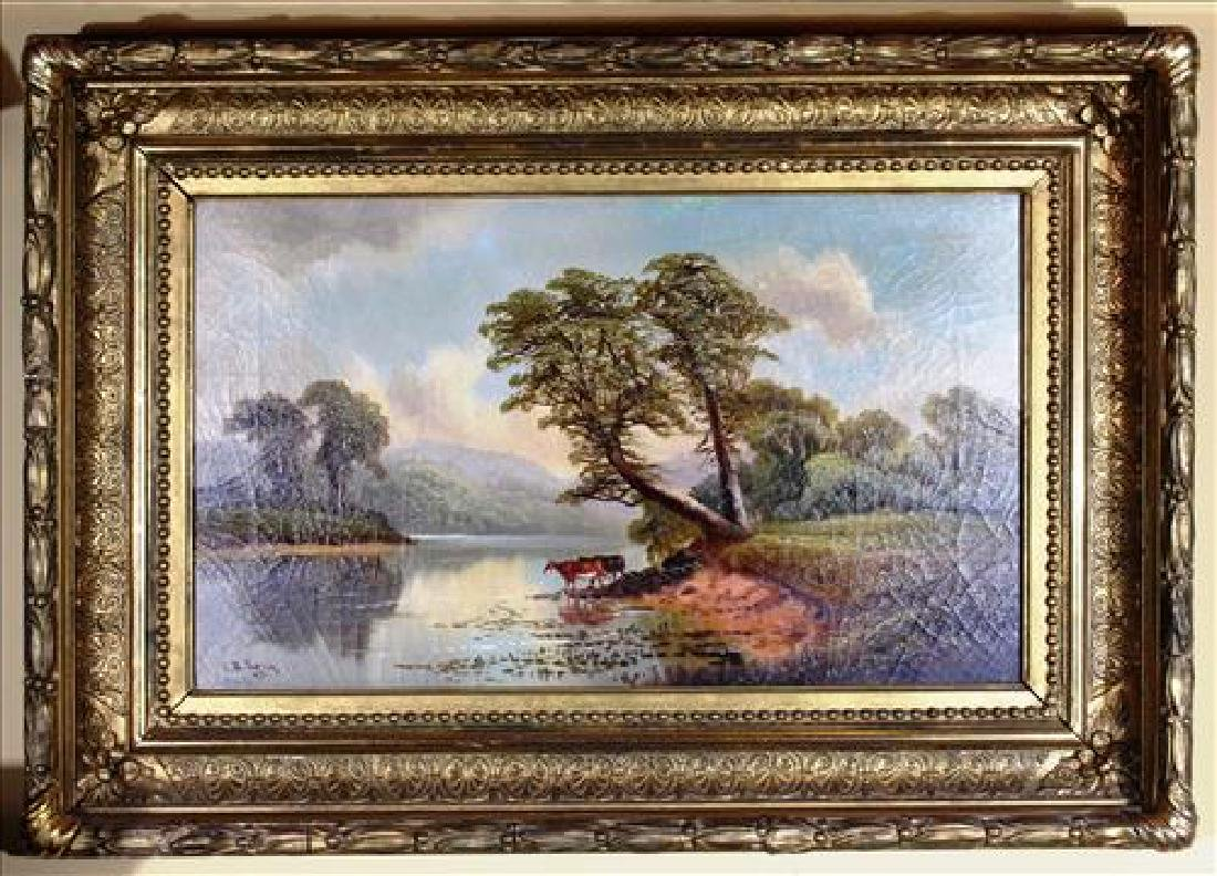 Oil on canvas of cows in gold frame, signed J. R. Long