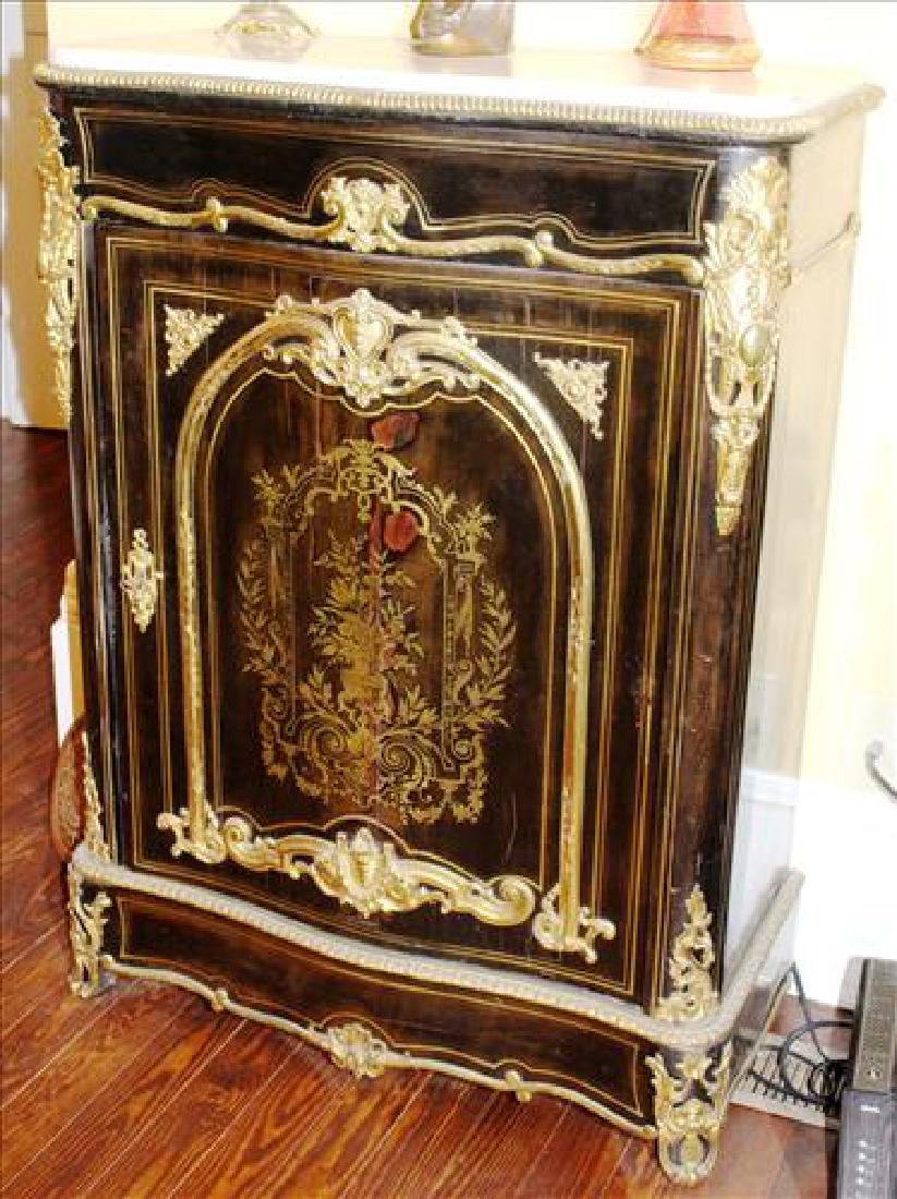 Black ebonized French parlor cabinet w marble top,