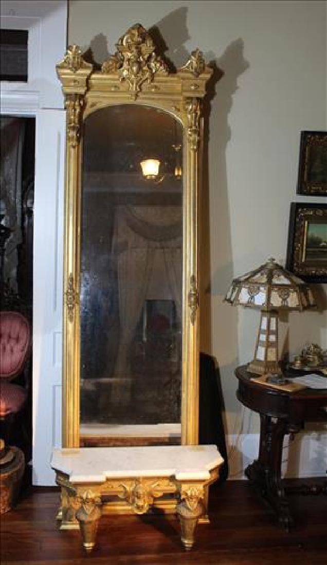 Gold gilt Victorian pier mirror with ornate base