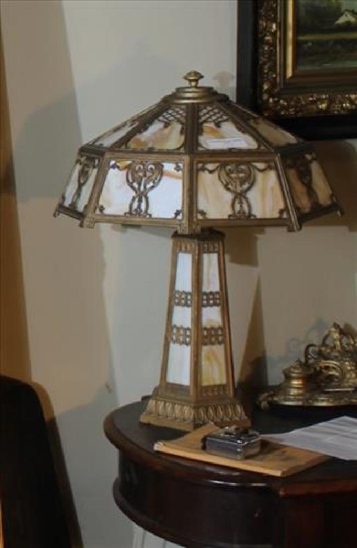 Slag glass art deco metal lamp, 24 in. T.