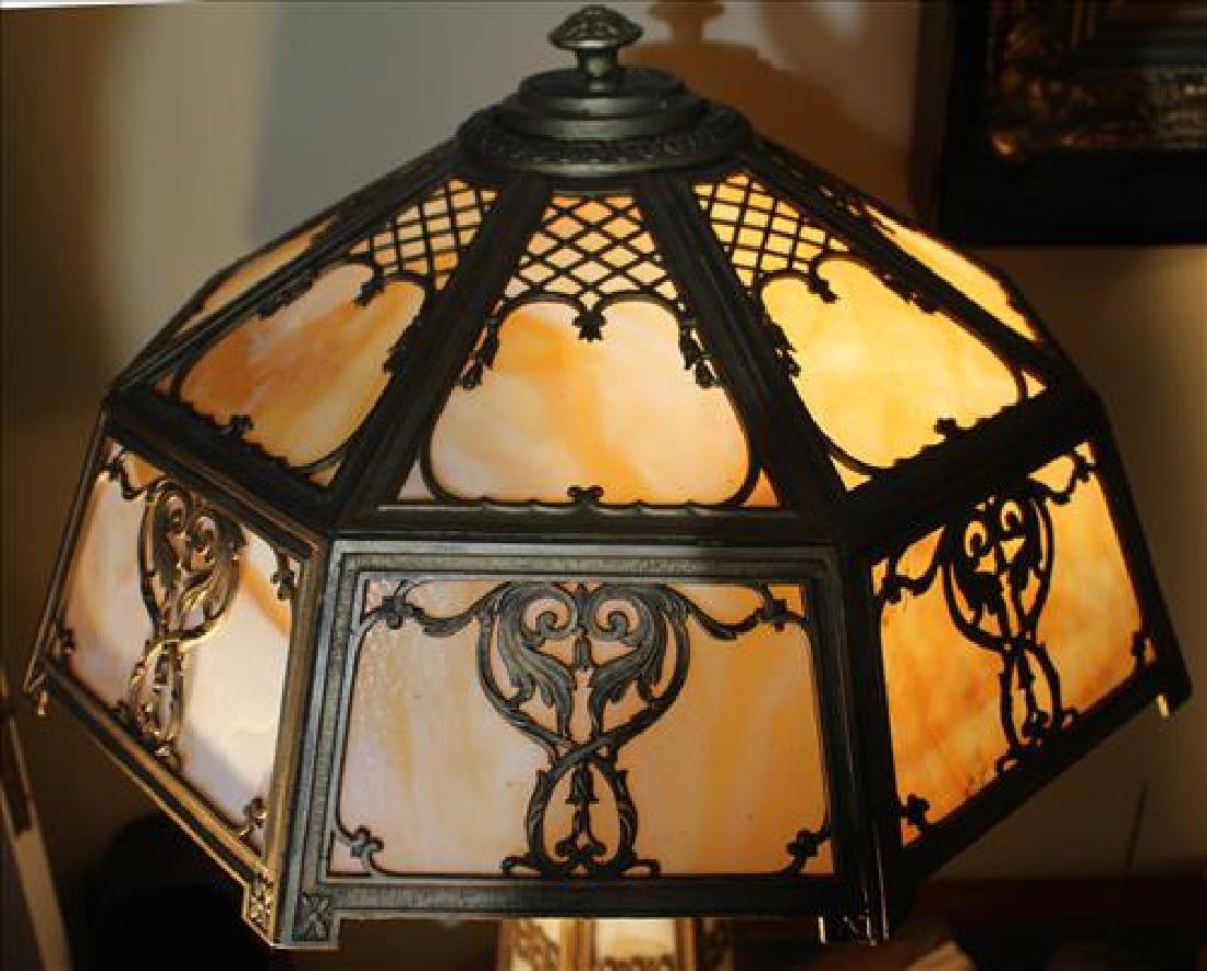 Slag glass art deco metal lamp, 24 in. T. - 2