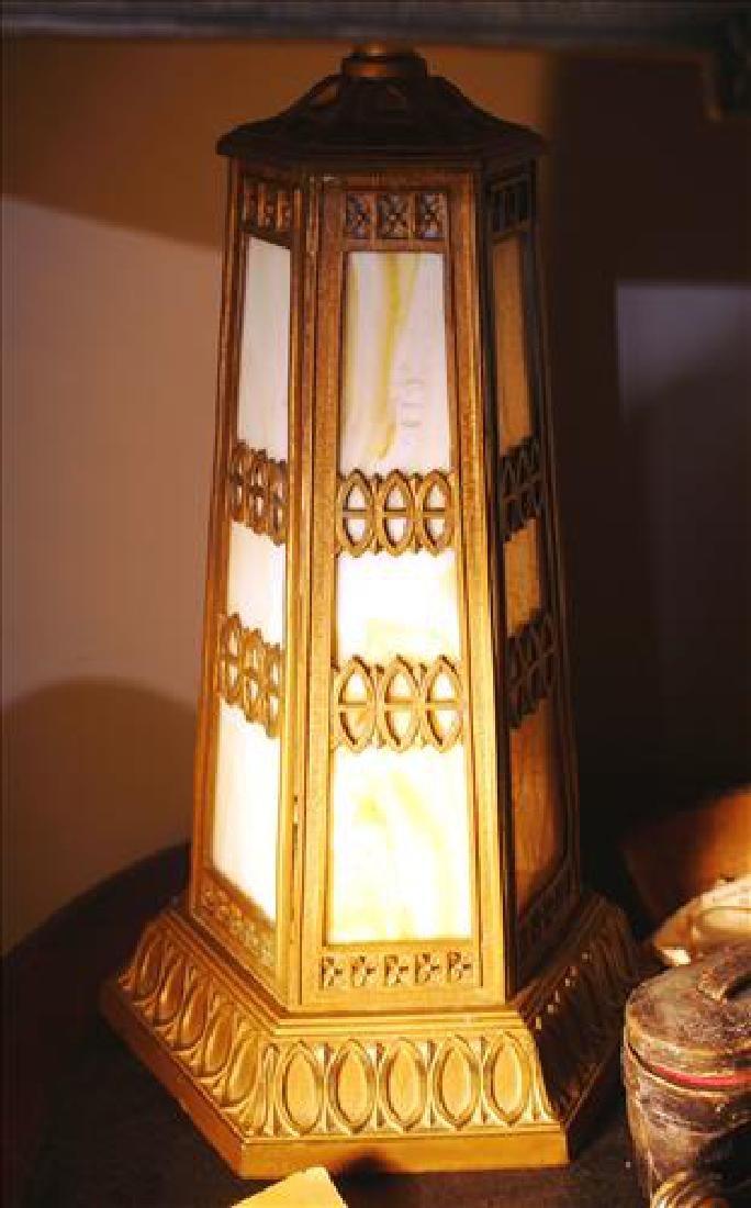Slag glass art deco metal lamp, 24 in. T. - 3