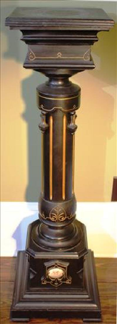 Renaissance ebonized pedestal with Sevres plaque