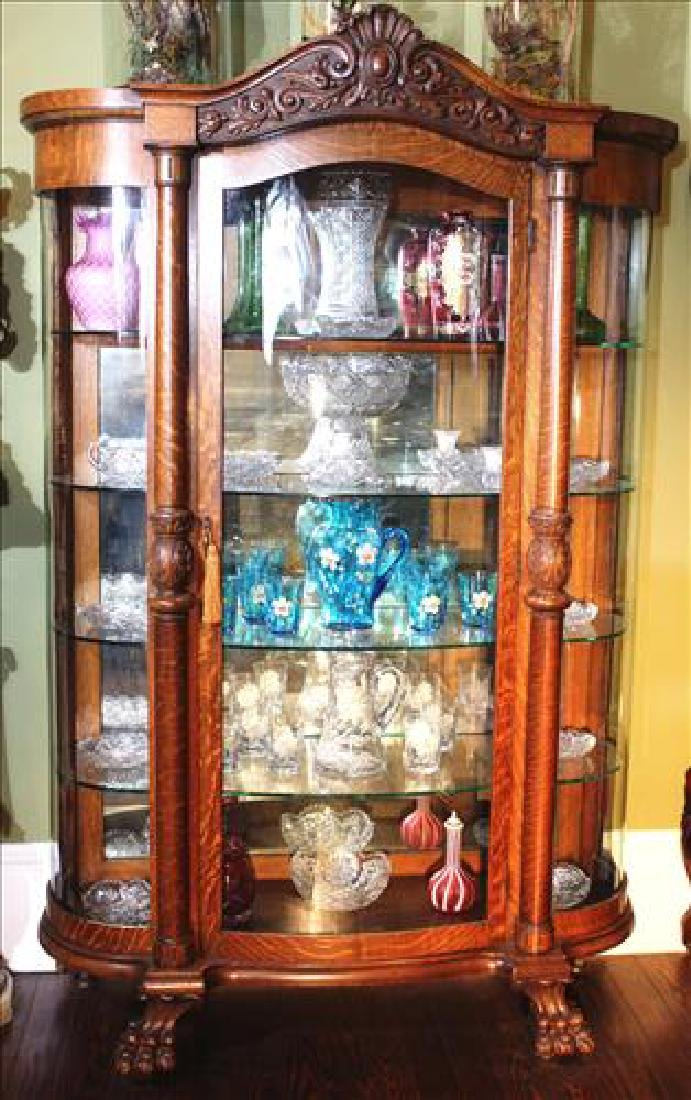 Oak quarter sawn curved glass china cabinet