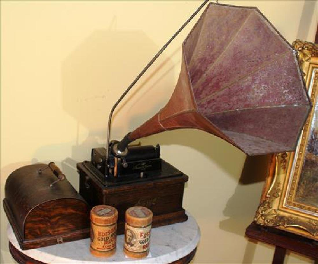 Edison phonograph in original case w two extra