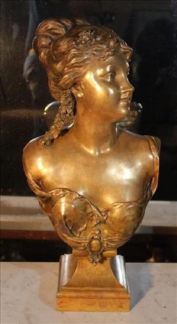 Bronze bust of Victorian lady signed D. Lenoir, 22 in.