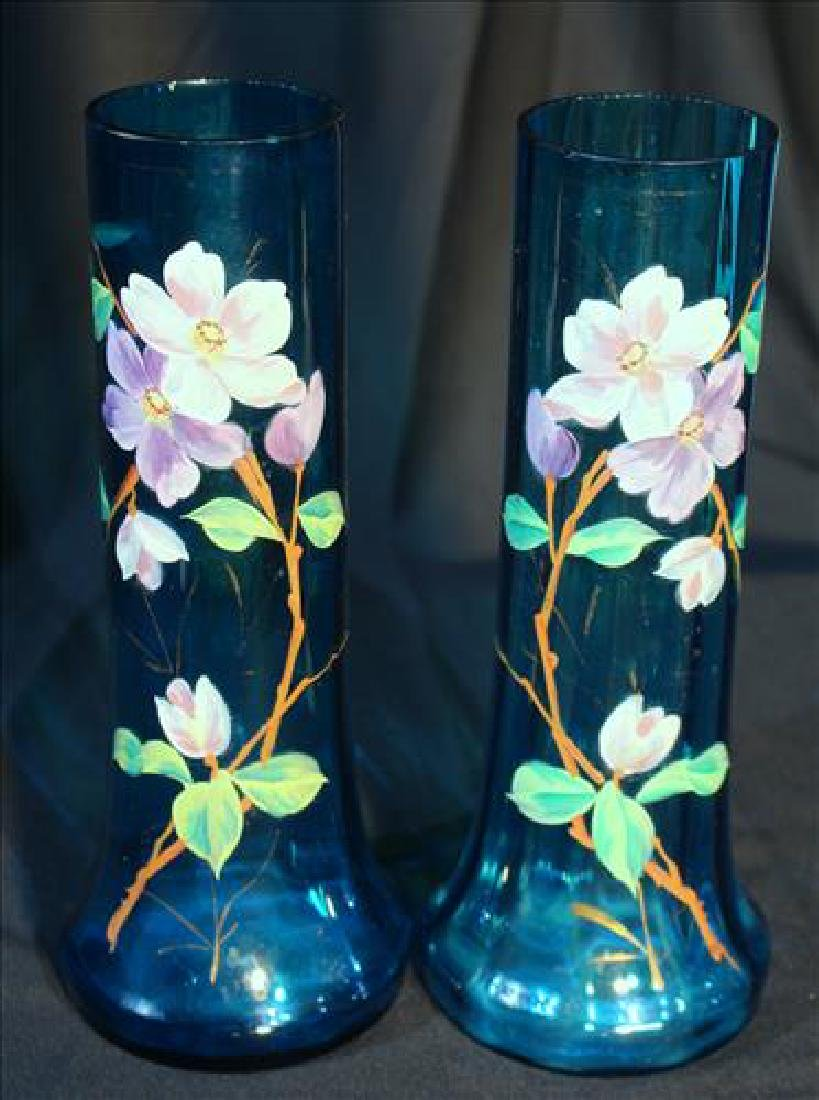 Pair blue glass vases with hand painted flowers
