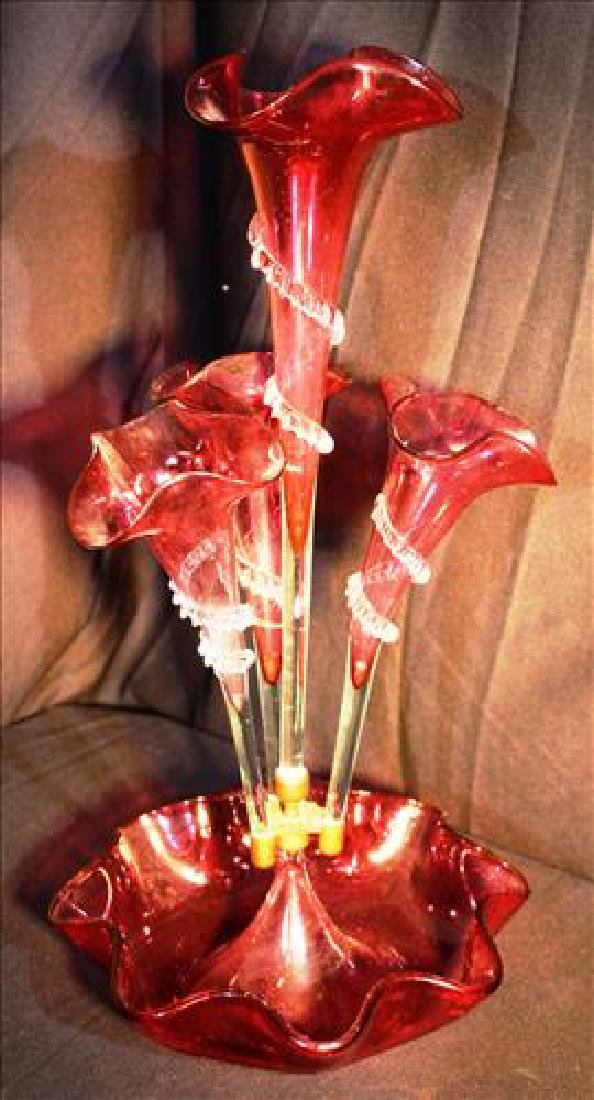 Cranberry art glass epergne with 5 trumpets