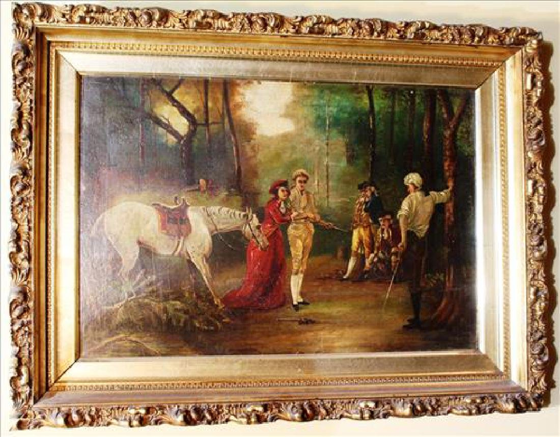 Oil on canvas of forrest duel with gold frame, signed