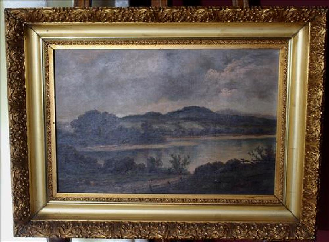 Victorian old  oil  on canvas of river scene, 18 x 24