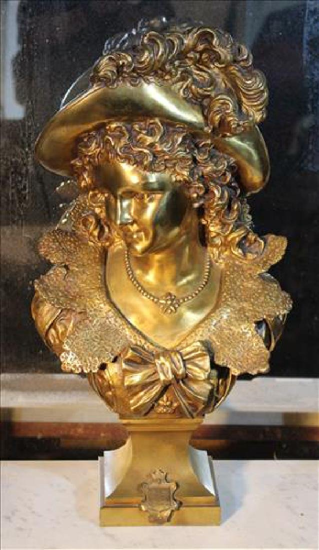 Bronze bust of French lady with big hat, 25 in. T.