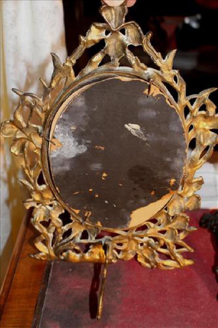 Victorian brass shaving mirror in ornate frame - 2